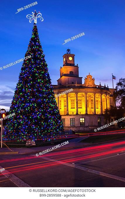 CHRISTMAS TREE CITY HALL CORAL GABLES FLORIDA USA