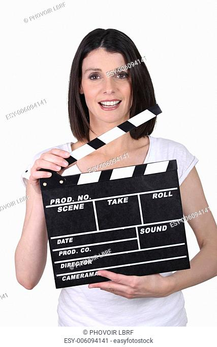 Woman ready to start filming