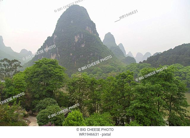 View of the Karst mountains, Yangshuo, China