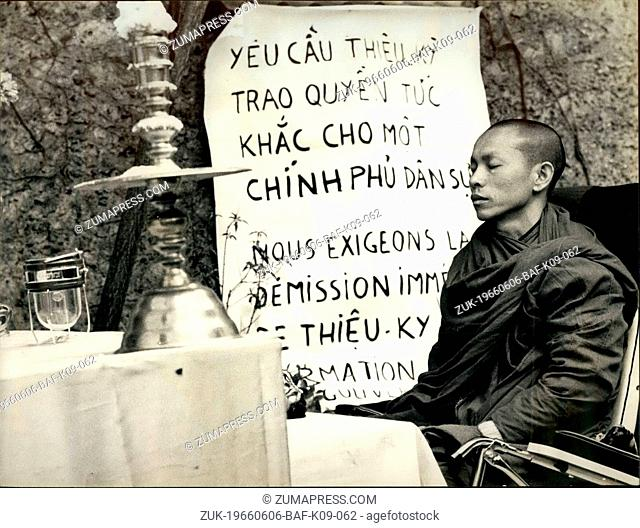 Jun. 06, 1966 - A Bonze in Paris; It is in the center of Paris that this bonze Thich Quano Thiep undertook a hunger which must last twenty days to required that...