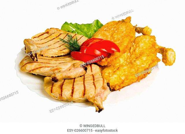 chicken chops grilled on the plate, isolated on white background