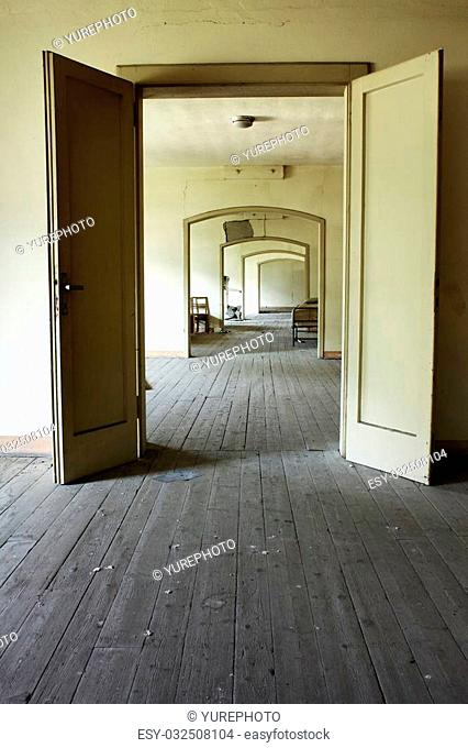 A corridor in an abandoned school building