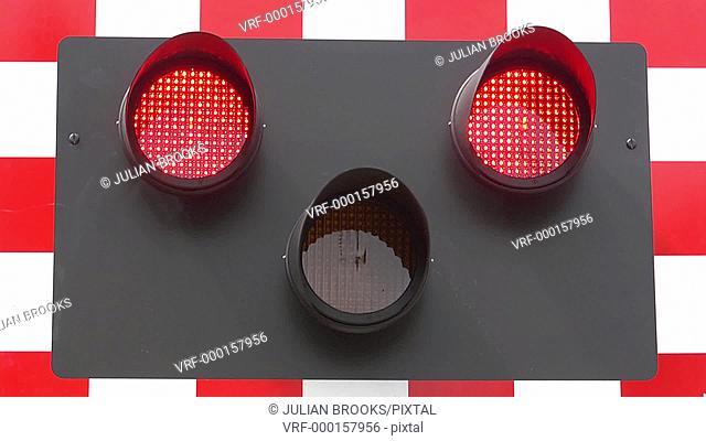 railway safety. Amber warning light turns to flashing red lights 4:2:2