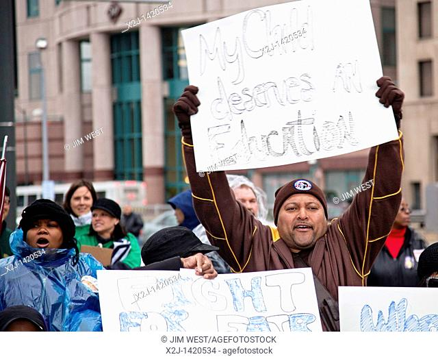 Detroit, Michigan - Unions rally in downtown Detroit to support public employees and to oppose state budget cuts  It was one of many 'We Are One' actions...