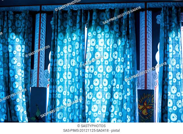 Close-up of curtains on windows, Pushkar, Ajmer, Rajasthan, India
