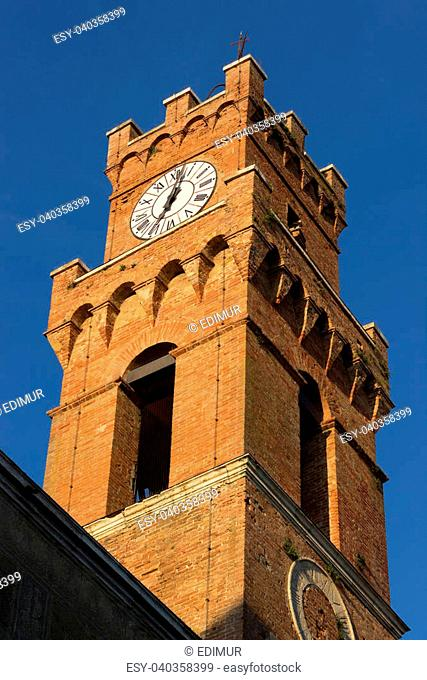 A wiew of Pienza city tower, at the town hall of Pienza, near Siena, Tuscany, Italy