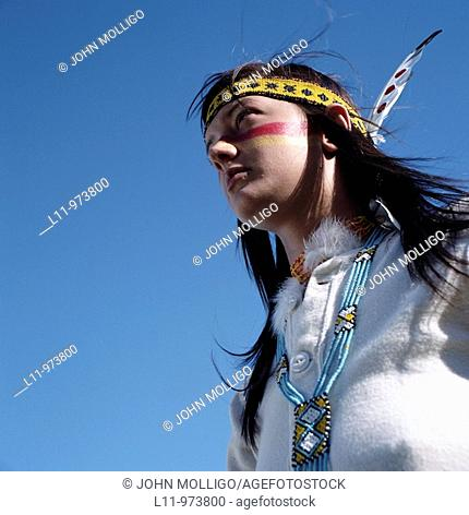 Indigenous woman, america; looking off