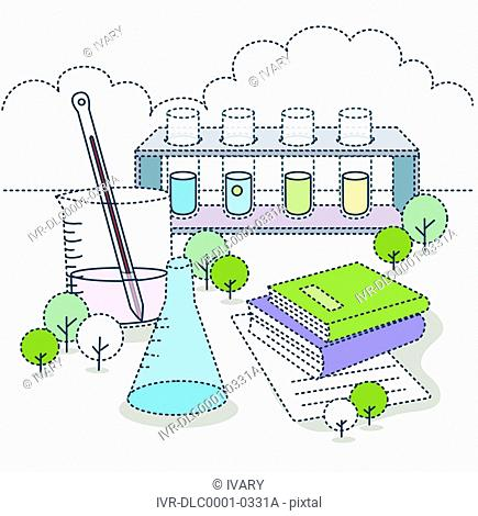 Illustration of laboratory class with books