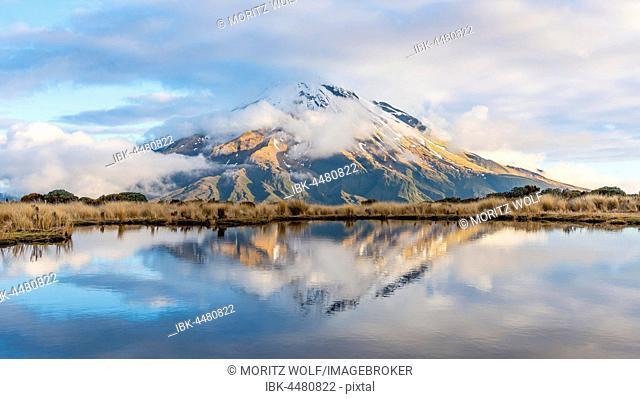 Reflection in Pouakai Tarn, stratovolcano Mount Taranaki or Mount Egmont with cloud, Egmont National Park, Taranaki, New Zealand