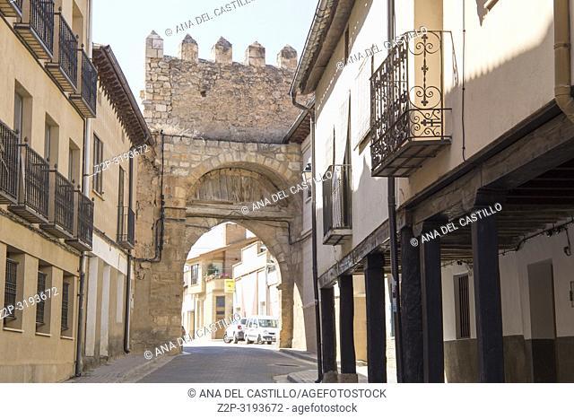 Berlanga de Duero, Soria, Castile-Leon, in the Spanish meseta on June 10, 2017 Aguilera gate