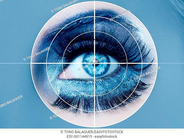 blue eye makeup closeup macro pupils recognition sensor system