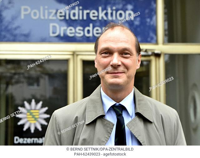 Actor Martin Brambach poses at a set where an episode entitled 'Auf einen Schlag' (lit. All at once) of German television crime series Tatort by German public...