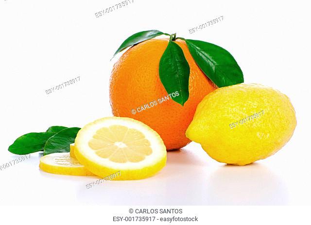 Fresh whole orange and lemon