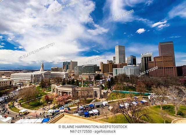 Overview of Civic Center Park and Downtown Denver, 420 Cannabis Culture Music Festival, Civic Center Park, Downtown Denver, Colorado USA