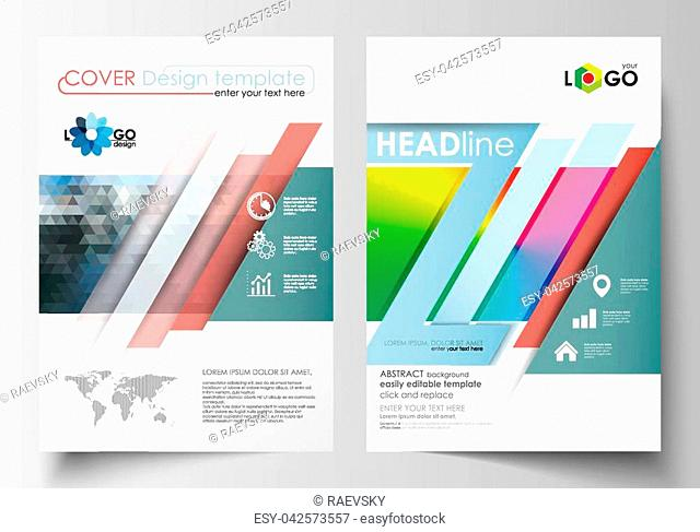 Business templates for brochure, magazine, flyer, booklet or annual report. Cover design template, easy editable blank, abstract flat layout in A4 size