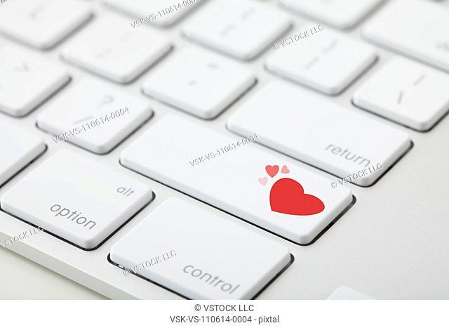 Heart symbol on computer keyboard