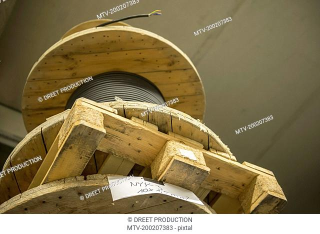 Low angle view of spool of electric cables, Munich, Bavaria, Germany