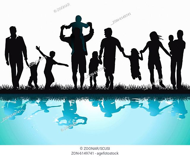 Happy parents with children on the water