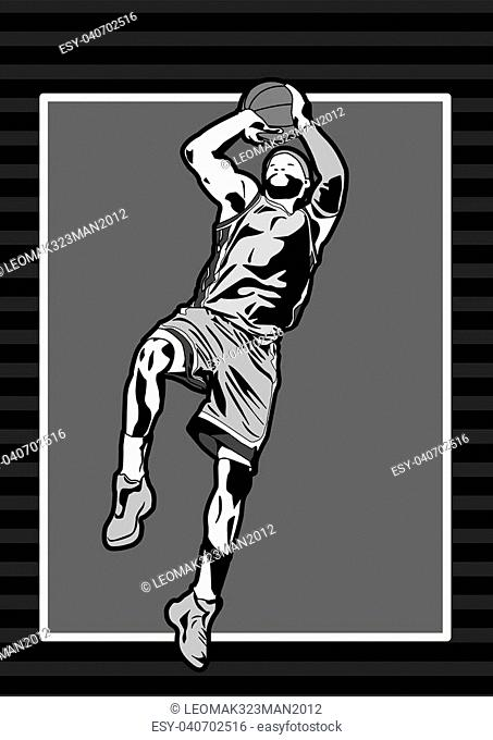 Sports Basketball player jump shoot silhouette