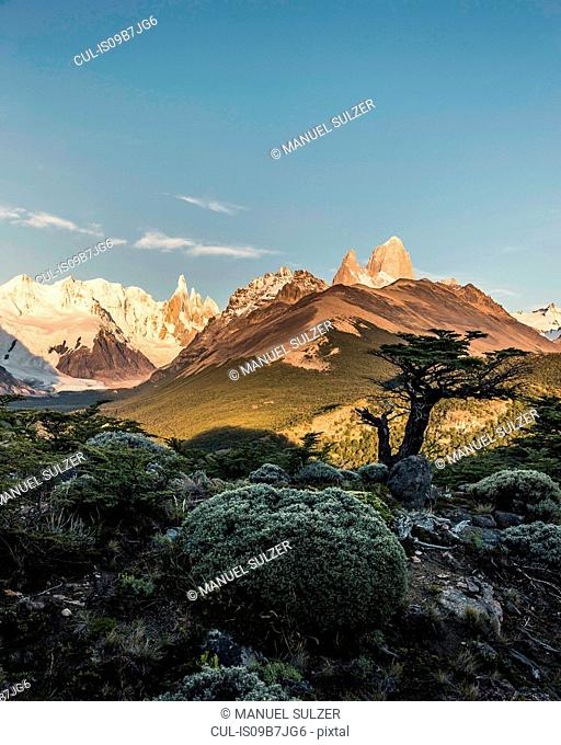 Distant view of Cerro Torre and Fitz Roy mountain ranges, Los Glaciares National Park, Patagonia, Argentina
