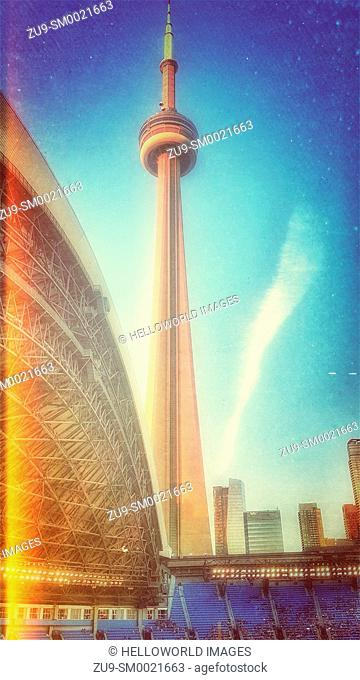 CN Tower from the Rogers Centre, Toronto, Ontario, Canada. Rogers Centre is the home of the Toronto Blue Jays baseball team