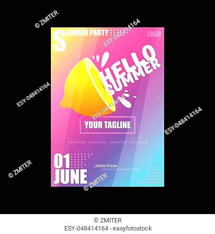Vector Hello Summer Beach Party modern vertical A4 poster Design template or mock up with fresh lemon on pink and purple modern style gradient background