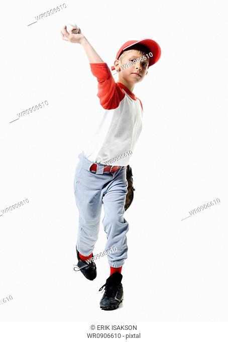 Portrait of a baseball player throwing a baseball