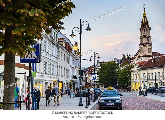 View of the Town Hall Square, side opposite the town hall, with the bell tower of the church of San Nicolas. Vilnius, Vilnius County, Lithuania, Baltic states