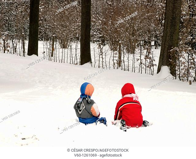 -Kids playing with snow-