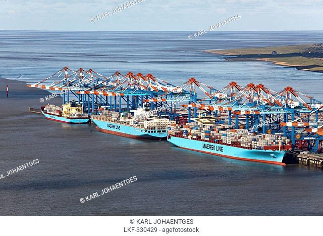 Aerial view of the container port with loading cranes and container ships, terminal, Bremerhaven, Bremen, Germany