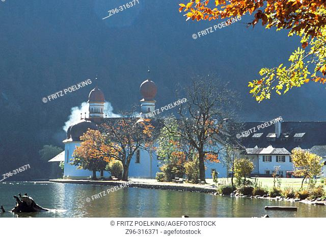 St. Barthol. Watzmann. Konigsee. Berchtesgaden. Berchtesgadener Alpen National Park. Bavaria. Germany