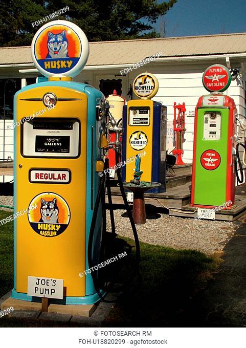 Littletown, NH, New Hampshire, Antique Gas Station Pumps