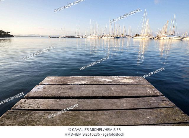 France, Var, Iles d'Hyeres, national park of Port-Cros, Island of Porquerolles, the marina seen by a pontoon
