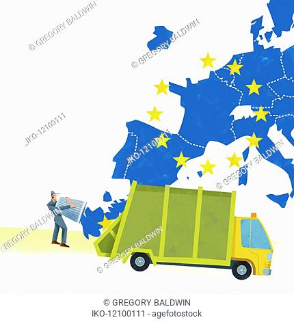 United Kingdom being removed from map of the European Union and thrown away with rubbish collection