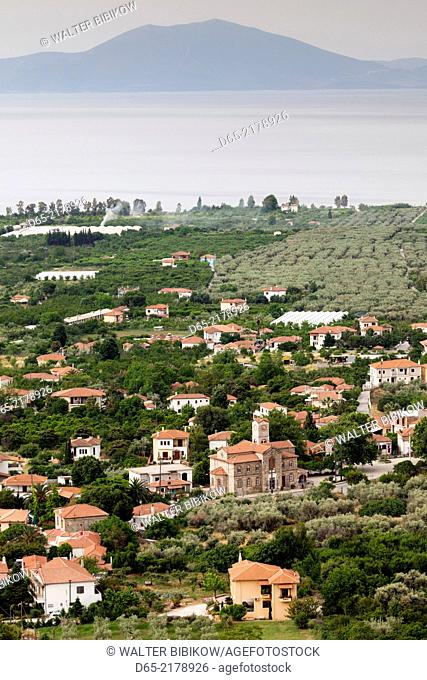Greece, Thessaly Region, Agria, Pelion Peninsula, elevated town view