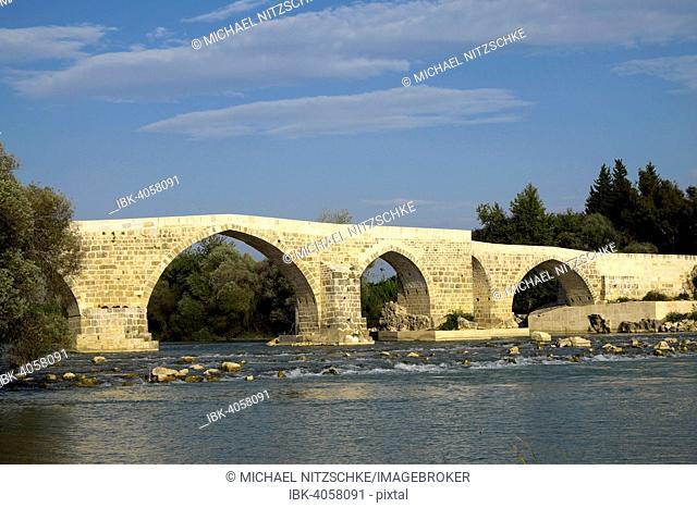 Reconstructed Roman bridge over the Köprüçay River, ancient Eurymedon river, Köprüçay, near Aspendos, Antalya Province, Turkey