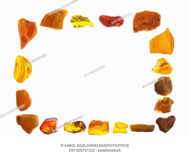 Amber, stone on white background, studio isolated photo