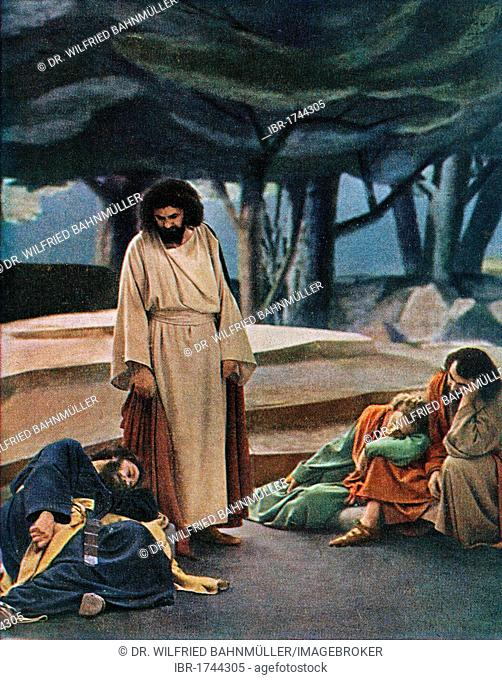 Mount of Olives, colour post card from a Uvatypie template, Oberammergau Passion Play 1930, Upper Bavaria, Bavaria, Germany, Europe
