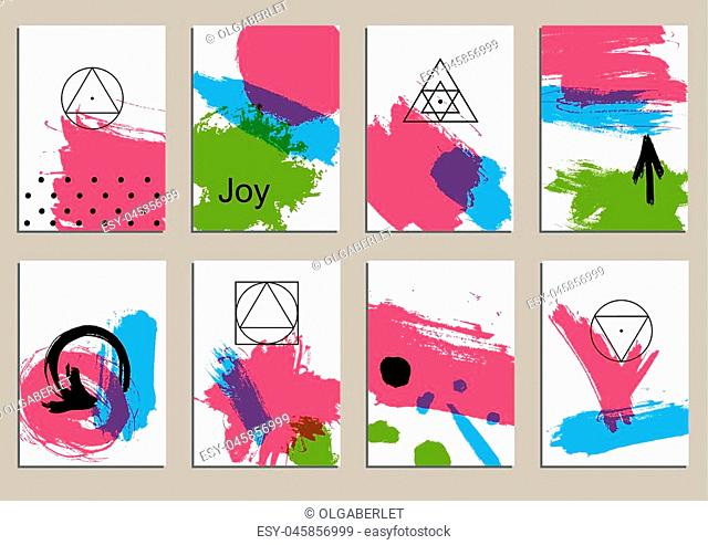 Set of universal cards. Hand Drawn textures. Design for banner, poster invitation placard brochure flyer. Vector. Isolated