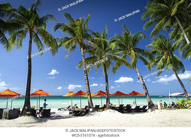 station 2 beach main area of boracay tropical paradise island philippines
