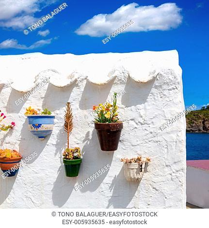 Menorca Es Grau white house flower pots detail in Balearic Islands