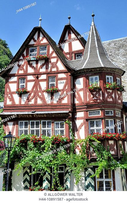 1368, old, Bacharach, Germany, Europe, half-timbered houses, house, home, Middle Ages, Rhine Valley, Rhineland-Palatinate, UNESC