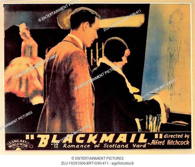 RELEASE DATE: October 6, 1929. MOVIE TITLE: Blackmail. STUDIO: British International Pictures (BIP). PLOT: Alice White, detective Frank Webber's girlfriend