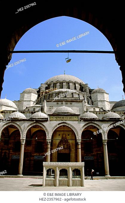 Suleymaniye Mosque from a courtyard, Istanbul, Turkey. Built by the Ottomans in the 1550s, the Suleymaniye Mosque is the second largest mosque in Istanbul