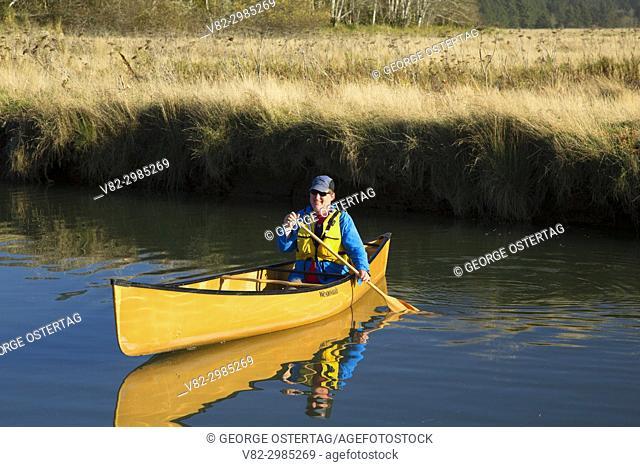 Canoeing on Millport Slough, Siletz Bay National Wildlife Refuge, Oregon