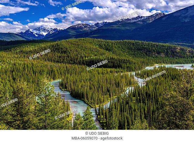 Canada, Alberta, Jasper National Park, Jasper, Athabasaca River, in the background Mount Edith Cavell, view from Old Fort Point