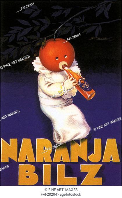 Bilz orange by Mauzan, Achille (1883-1952)/Colour lithograph/Art Deco/1929/Italy/Private Collection/155x105/Poster and Graphic design/Poster/Orange Bilz von...