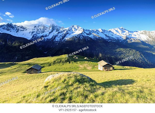 Meadows and wooden huts framed by snowy peaks in spring Tombal Soglio Bregaglia Valley canton of Graubünden Switzerland Europe