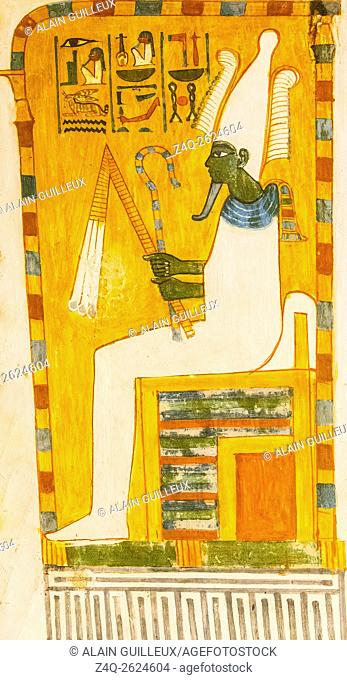 UNESCO World Heritage, Thebes in Egypt, Valley of the Nobles, tomb of Menna. Osiris sits under a canopy. He holds the crook and flail scepters