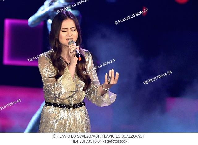 The singer Jasmine Thompson during the performance at the tv show The voice of Italy, Milan, ITALY-16-05-2016
